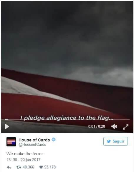 tweethoc - Netflix libera teaser da nova temporada do House of Cards...logo após a posse de Donald Trump
