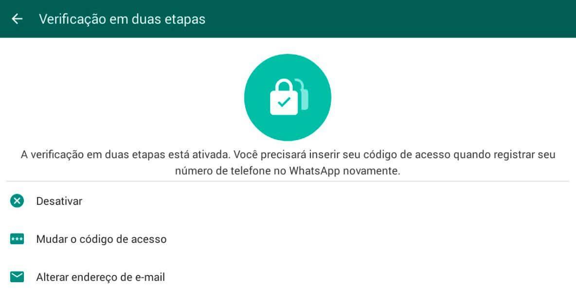 ativada - Dica: como ativar a verificação em duas etapas do WhatsApp