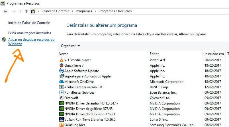 ativar recursos - Tutorial: Como remover o Internet Explorer do Windows 10