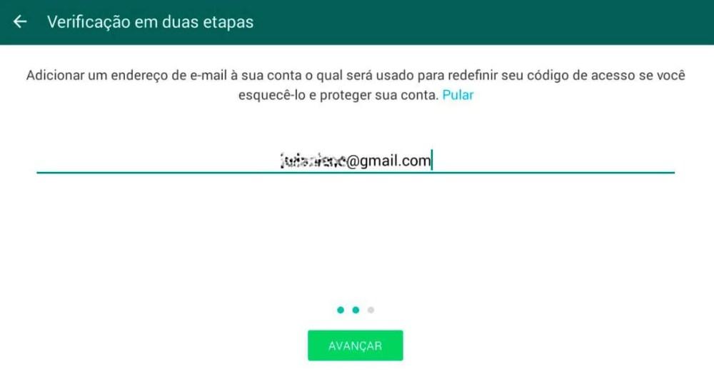 endereço de email - Dica: como ativar a verificação em duas etapas do WhatsApp