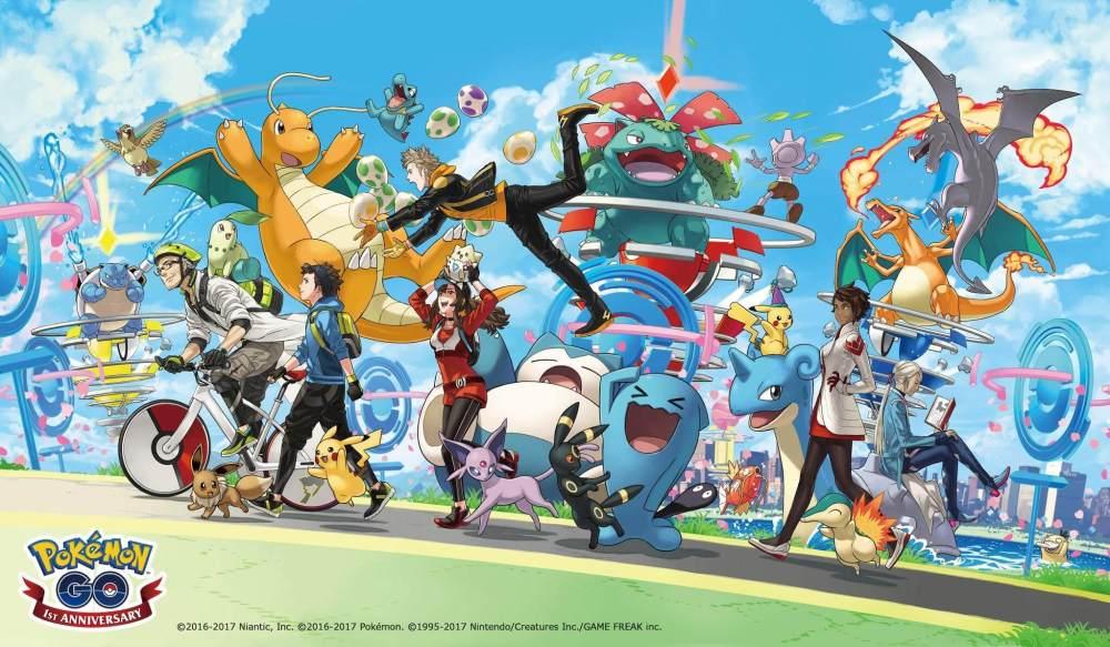 DEBYcLeXcAEy7oI - Feliz aniversário! Pokémon GO completa um ano com Pikachu temático