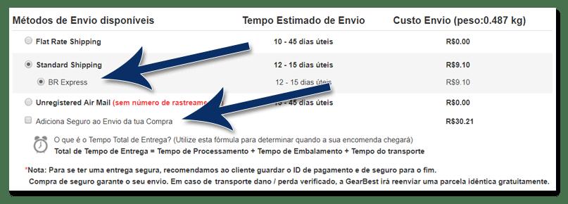 06 gearbest metodo de envio e seguro - Tutorial: Como parcelar suas compras na GearBest, sem juros