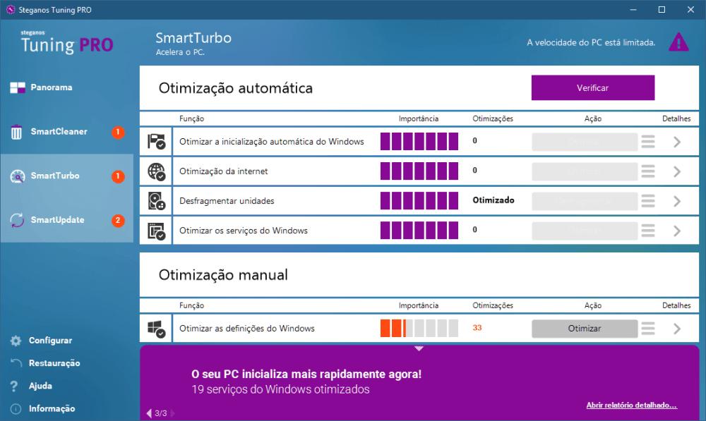smarturbo - Análise: Steganos Tuning PRO é bom para a limpeza do PC?