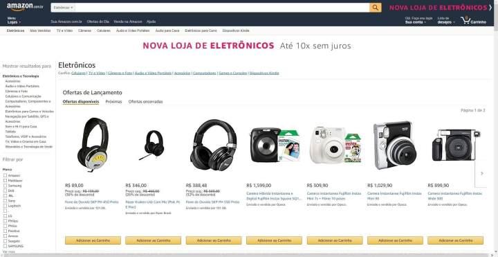 Amazon começa a vender eletrônicos em geral