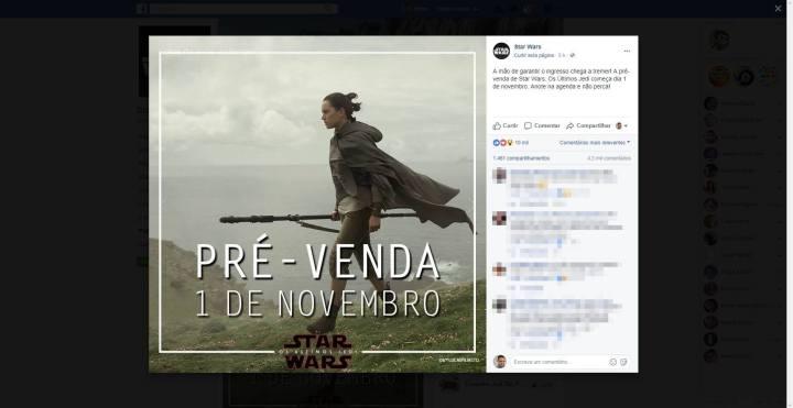 screenshot 20171018 180738 720x371 - Star Wars: Os últimos Jedi já tem data para início de pré-venda de ingressos confirmada