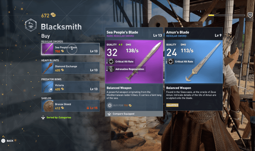 assassins creed origins blacksmith vendor gear 320x190 - Review: Assassin's Creed Origins é uma aventura incrível pelo Egito Antigo