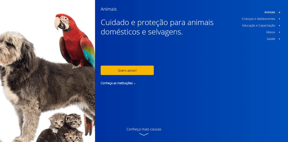 animais - CAUSAS VISA: novo programa facilita doar à instituições