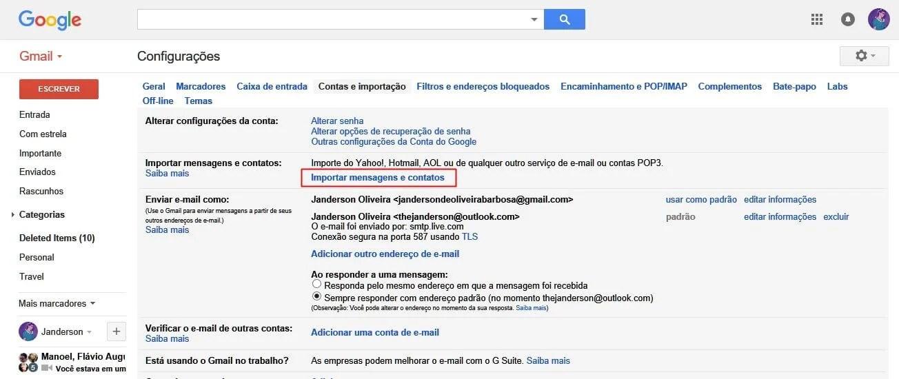 gmail tutorial 01 - Como combinar duas ou mais contas do Gmail