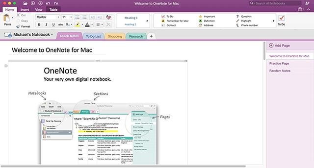 OneNote for Mac 2016 screenshot - Confira os melhores programas grátis para estudantes