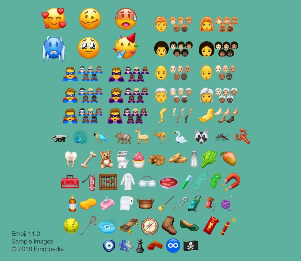 emojipedia sample images 2018 emoji 11 - Emojipedia divulga lista completa de novos emojis para 2018