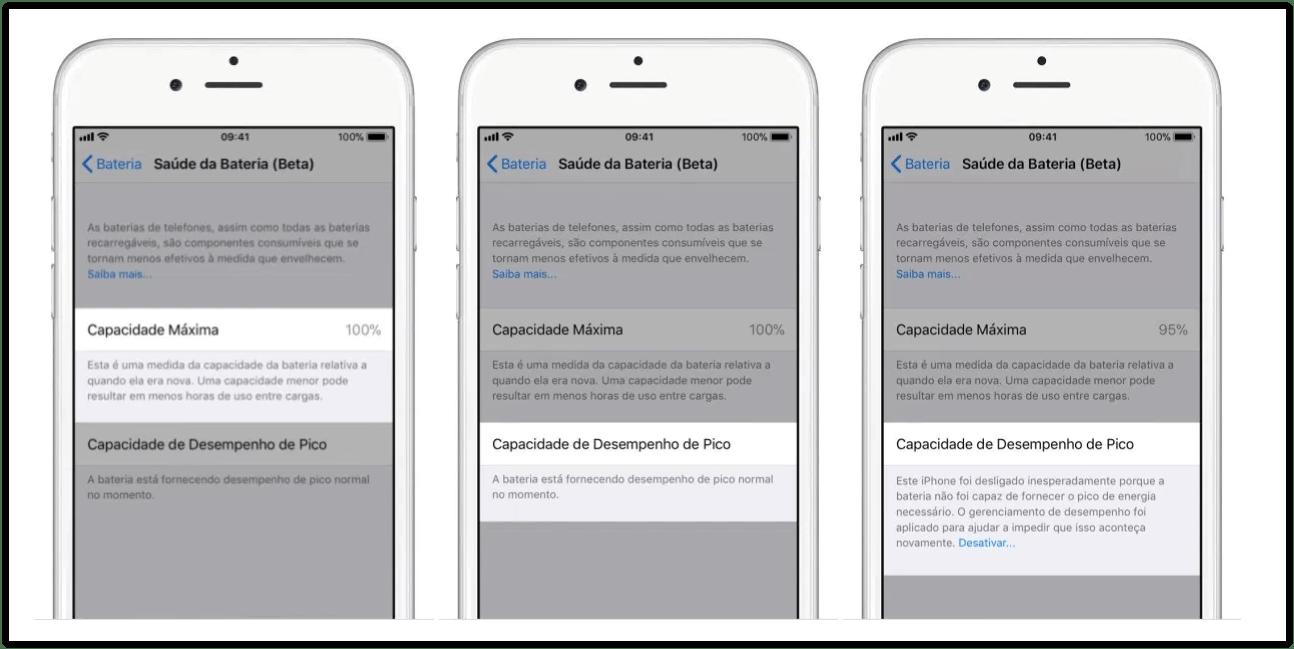"""saude da bateria - iPhone ganha novo recurso para detalhar a """"saúde da bateria"""""""