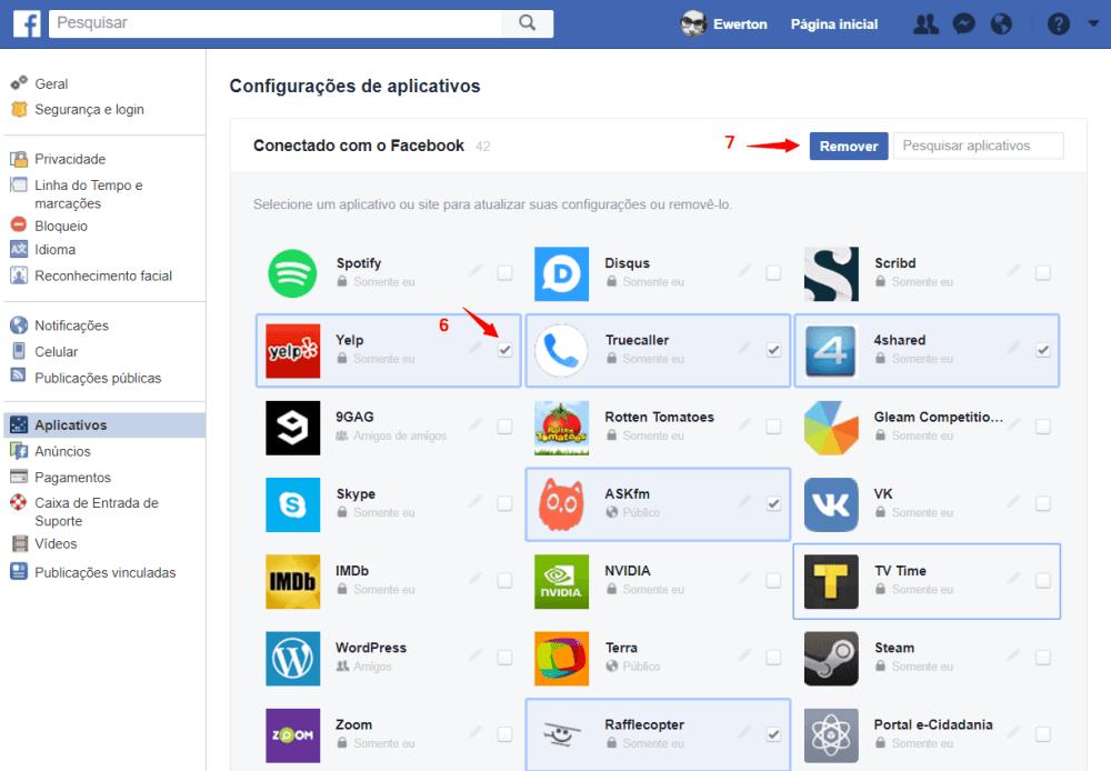 Passo 3 pronto - Como excluir os aplicativos e sites permitidos em sua conta do Facebook