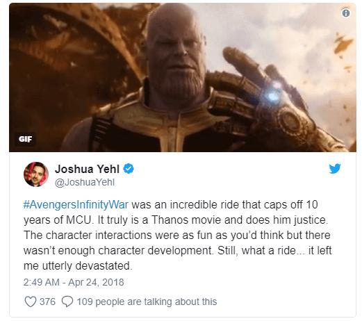 Vingadores: Guerra Infinita surpreende nas primeiras reações ao filme 9