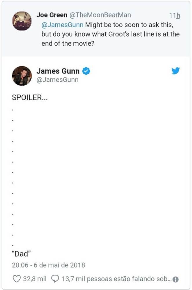 JamesGunn Groot 662x1000 - James Gunn traduz fala de Groot do final de Vingadores: Guerra Infinita