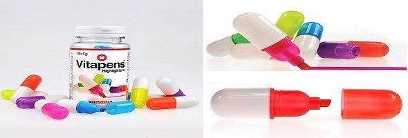 Marcadores originales con forma de píldoras