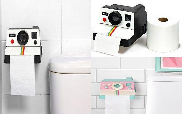 Portarrollos de papel higiénico con forma de cámara Polaroid