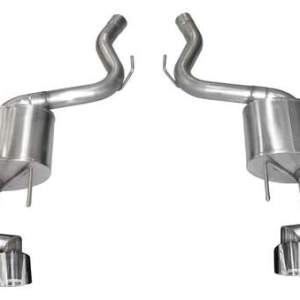 2018-2019 Ford Mustang 3.0 Inch Dual Rear Exit Axle-Back Exhaust System Polished Twin 4.0 Inch Tips Touring Sound Level