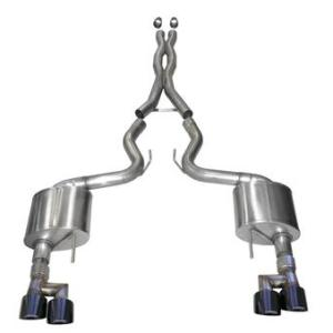 2018-2019 Ford Mustang 3.0 Inch Cat-Back Exhaust System Black Twin 4.0 Inch Tips Sport Sound Level