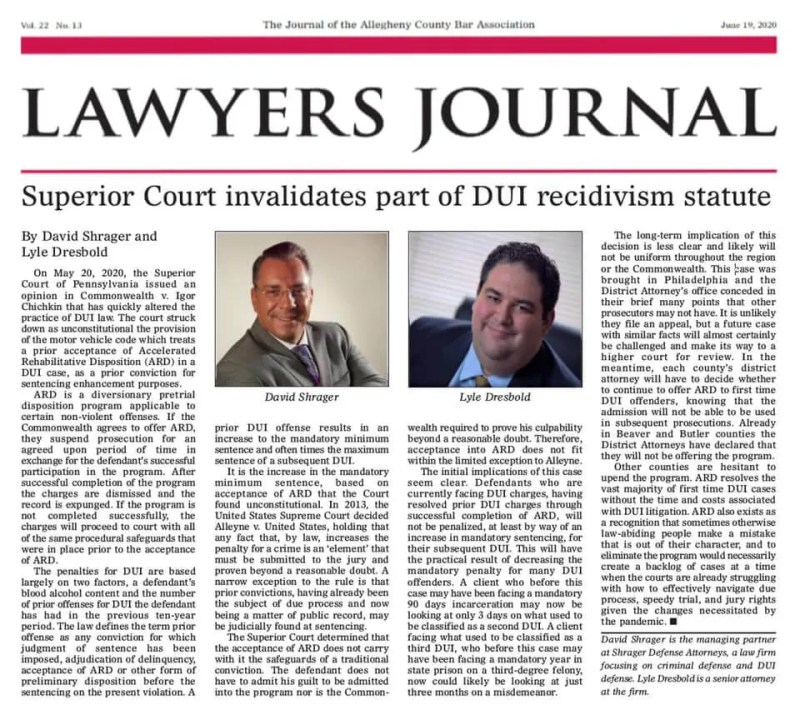 Lawyers Journal Article - DUI Laws Pennsylvania