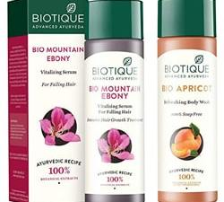 Biotique Serum For Hair and Biotique Bio Apricot Body Wash: Biotique Bio Mountain Ebony Vitalizing Serum For Falling Hair Intensive Hair Growth Treatment, 120ML And Biotique Bio Apricot Refreshing Body Wash, 190ml
