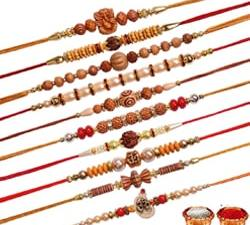 Multicolor Combo of 10 Dora Rakhi Set for Men with Roli Chawal Best Wishes Greeting Card