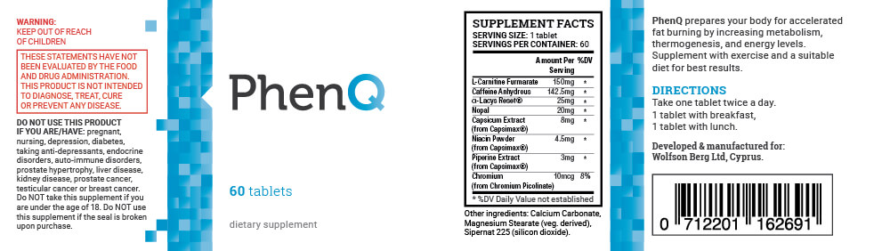 PhenQ Supplement Facts