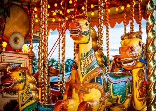 Gallopers in the Olde Time Fairground