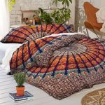Blue Base Colorful Bohemian Duvet Covers With Two Pillow Cases