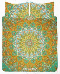 Yellow Green and White Star Elephant Bohemian Bed Sheet