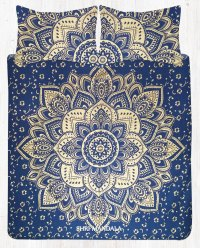 Blue Gold Queen Size Mandala Bed Set With Pillow Cases ...