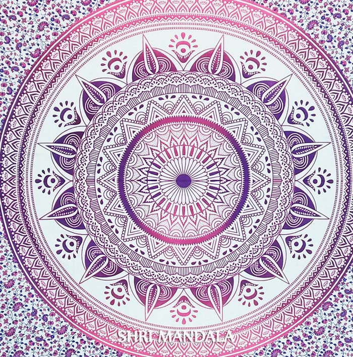 Pink Purple Twin Ombre Mandala Bed Sheet Set With Pillow
