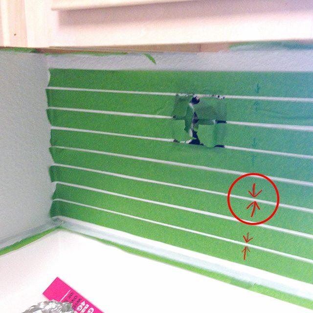 Faux Painted Subway Tile Backsplash 4