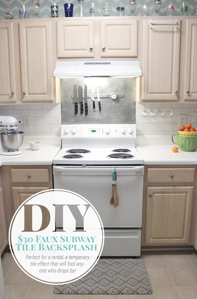 $30 DIY Faux Subway Tile Painted Backsplash
