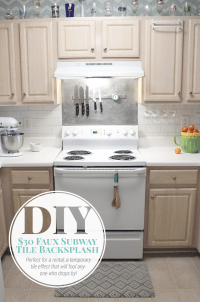 $30 Faux Subway Tile Painted Backsplash Tutorial