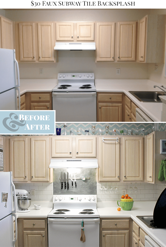 Faux Subway Tile Painted Backsplash Before After