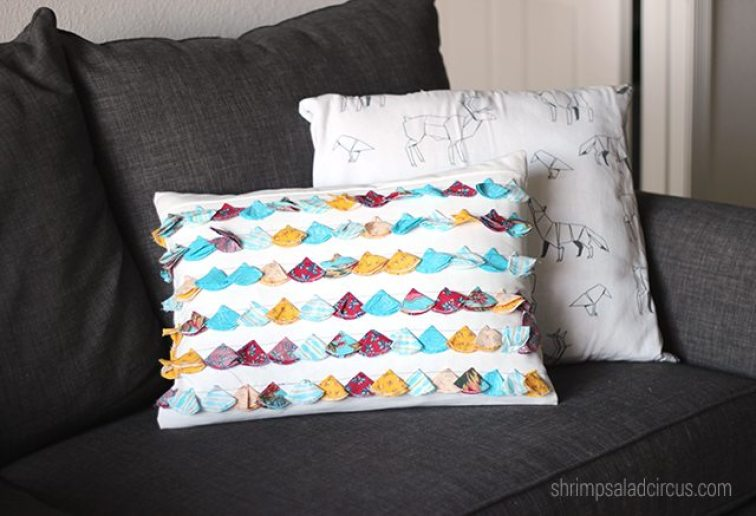 Anthropologie-inspired tasseled pillow by shrimp salad circus