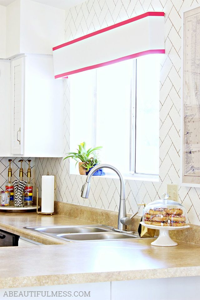 Ideal Faux Herringbone Tile DIY Kitchen Backsplash Ideas A Beautiful Mess