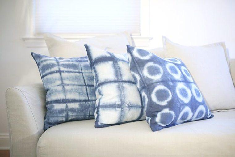 Shibori Dyed pillows by shrimp salad circus