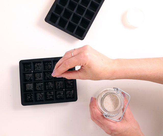 DIY Matcha GreenTeaSugar Scrub Cubes - Step 2 - Sugaring the mold