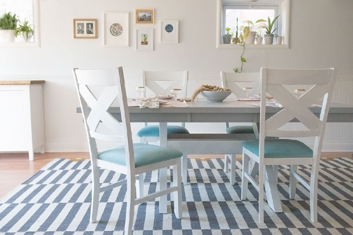 dining table in living room pictures small size furniture before and after diy chalk paint chairs shrimp my basement makeover with ikea