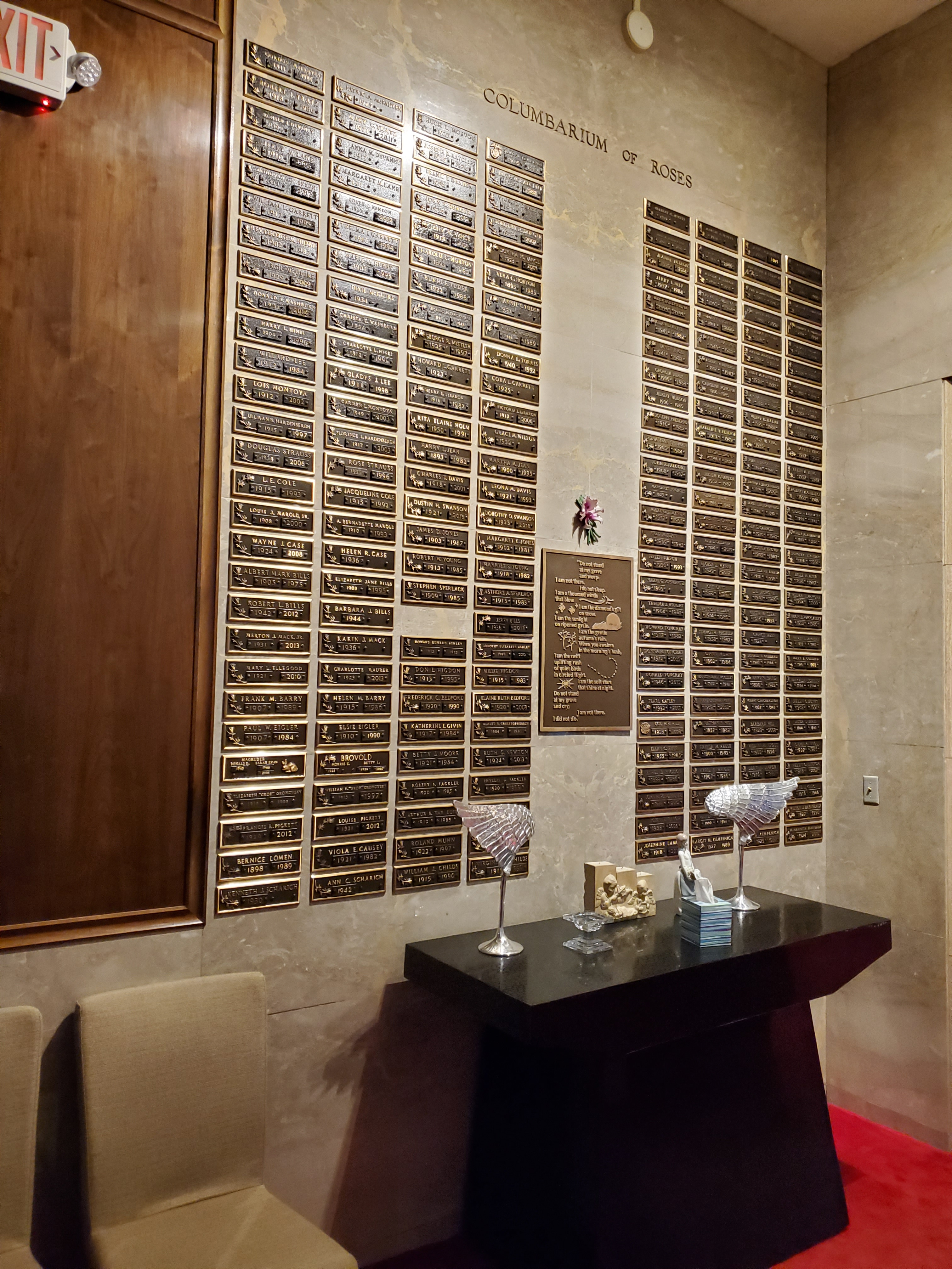 """Columbarium of Roses with bronze memorialization plaques in the """"America the Beautiful"""" Chapel"""