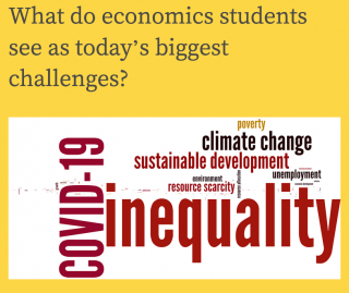 Word cloud: COVID-19, inequality, climate change, sustainable development, unemployment, resource scarcity