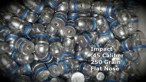 Impact 100 Qty 45 Caliber 250 Grain Flat Nose Air Rifle Bullets Pellets