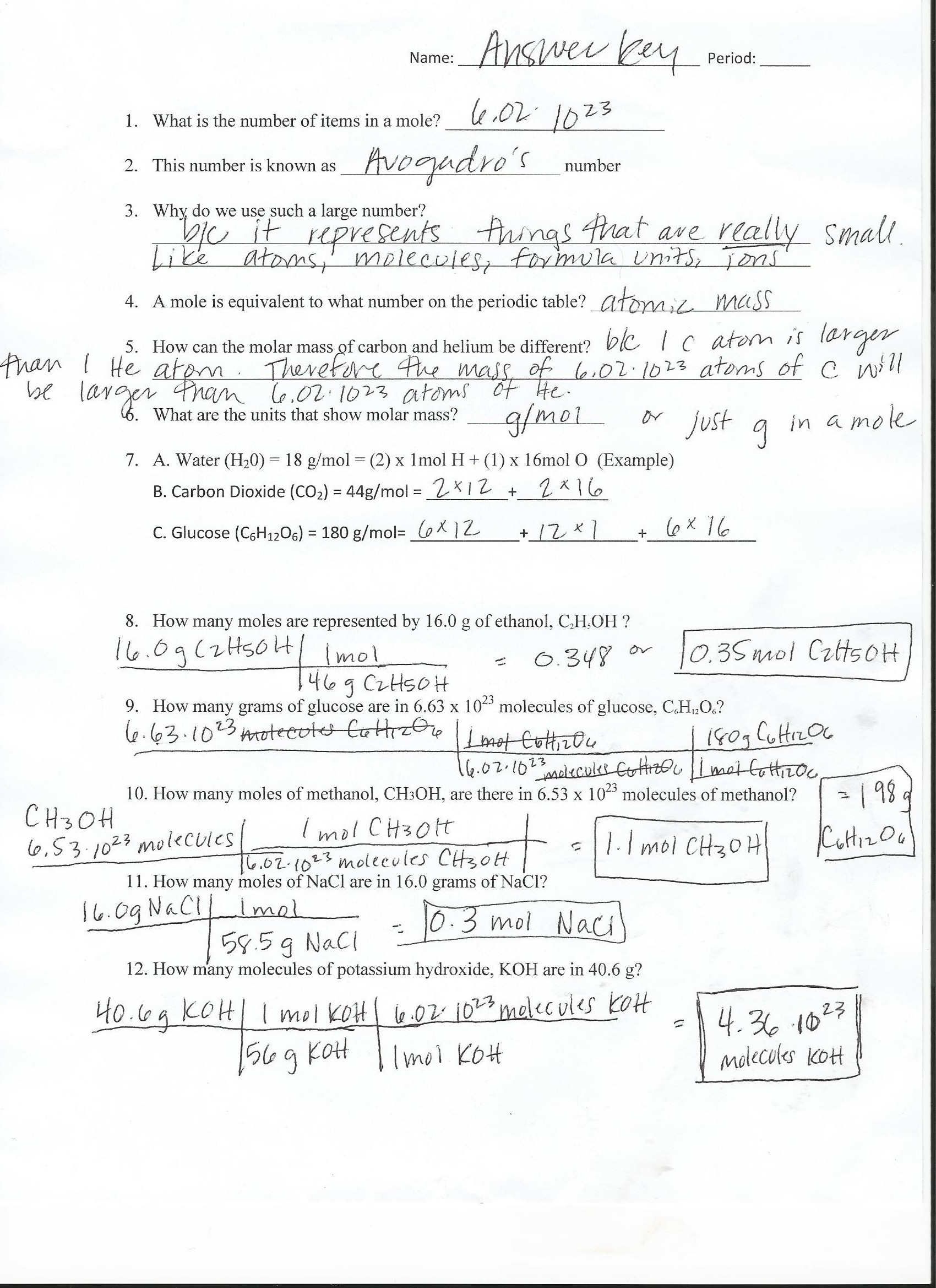 Molality Worksheet Answer Key Free Worksheets Molality