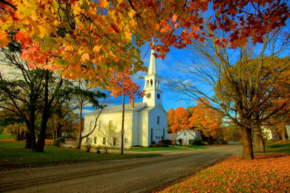 Fall Foliage Computer Wallpaper Peacham Church Vermont Shutterbug