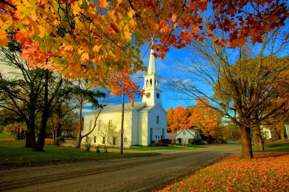 Fall Color Wallpaper Widescreen Peacham Church Vermont Shutterbug