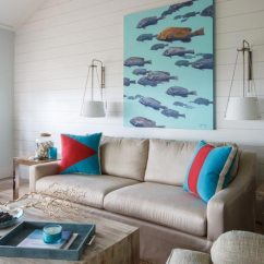 Beach House Decorating Ideas Living Room Cottage Themed 70 Relaxing Decor And Inspiration For The Painting Of Swimming Fish Matches Nicely With Coral Decoration On Coffee Table In This