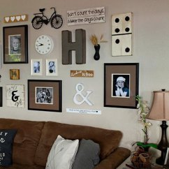 Living Room Picture Wall Shabby Chic Rooms Images 85 Creative Gallery Ideas And Photos For 2019 Shutterfly A Rustic Try Using Vintage Decorations Like An Antique Bike Distressed Signs That Say Your Favorite Quotes