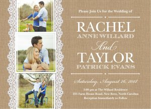 A Burlap And Lace Themed Wedding Invitation